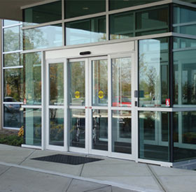 The series TX9300 Automatic Sliding Door System is a full breakout door package. All panels breakout for emergency egress. & Tormax TX9300 Sliding Hurricane Rated Automatic Doors | Automatic ...
